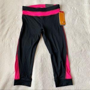 Champion black capri leggings pink stripes size S